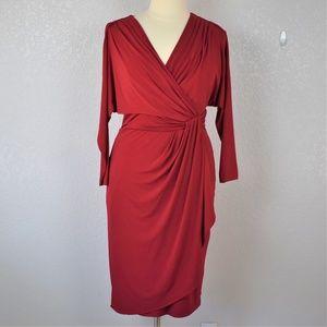 Maggy London Deep Red Draped Dress sz 16